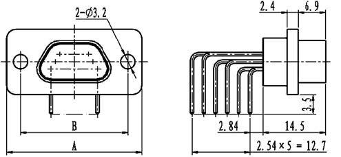 J29A type WI of common right angle contact for PCB Connectors Outline Dimensions of Receptacle