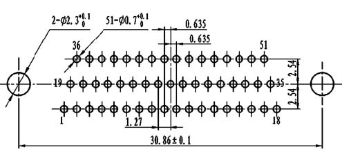 J30J PCB pattern for N-J、N4-J connectors Connectors panel cutouts