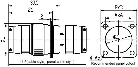 Y8B,Y8C series Connectors Product Outline Dimensions