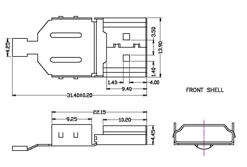 HDMI 19pin male solder  series Connectors Product Outline Dimensions