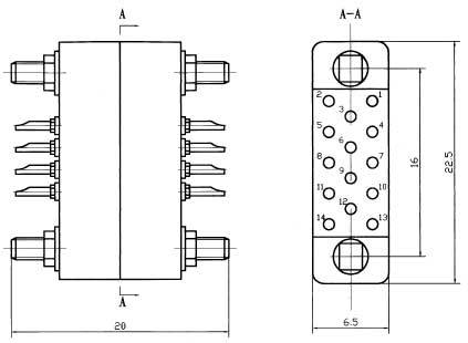 J11 Mini type Rectangular Electrical Connector series Connectors Product Outline Dimensions